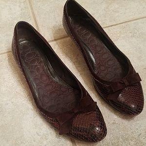 Coach Dark brown snakeskin kitten heels